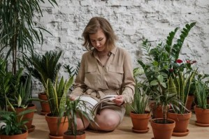 A woman sitting surrounded by plants