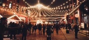 holiday season fair decorated with lights