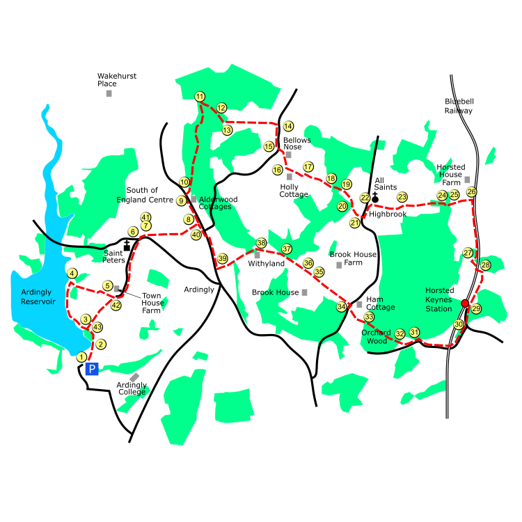 Ardingly route map