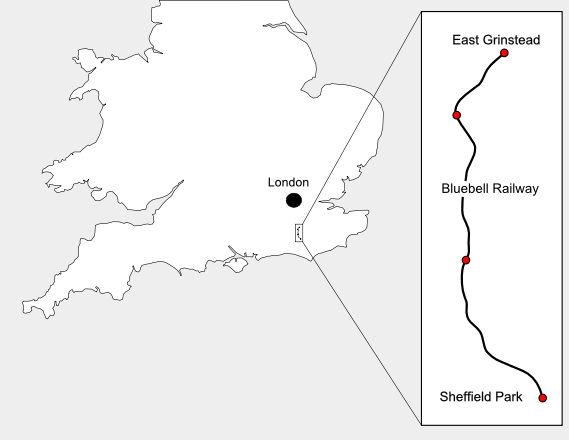 Get Here map showing the path of the Bleuebell Railway between East Grinstead and Sheffield Park.