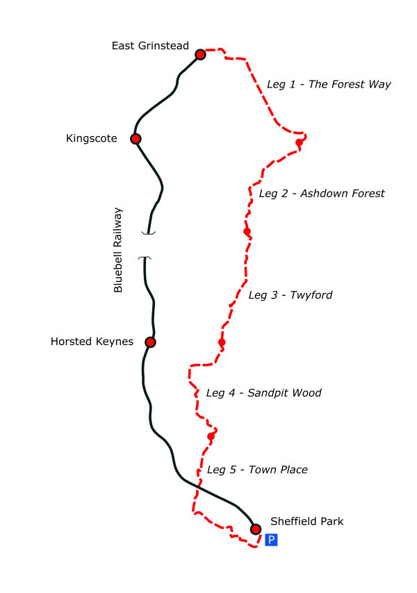 The Bluebell Way route map