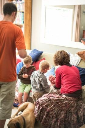 Bathing newborn Jemima is a family affair.