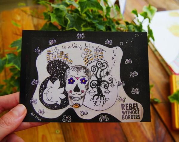 art postcard sugar skull rebel