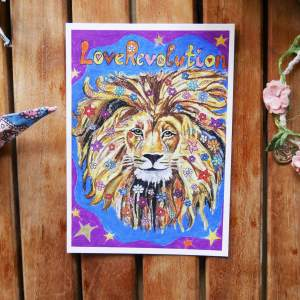loverevolution lion with flowers in the hair original paonting by zoé keleti postcard