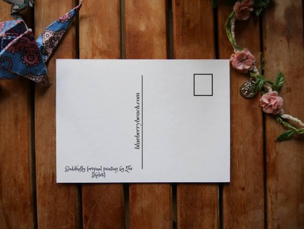 buddfafly back of postcard
