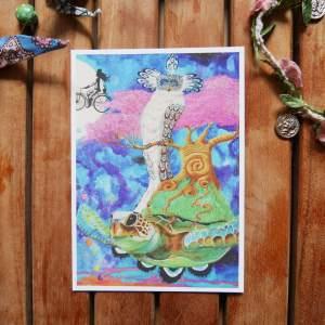 neverending journey turtle postcard by zoé keleti