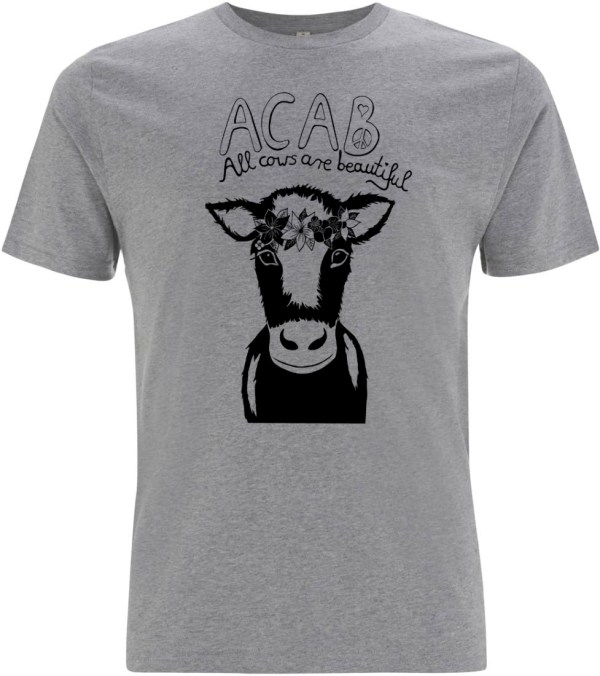 Grey all cows are beautiful men organic t-shirt