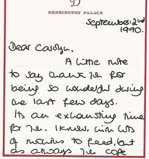 Card from Princess Diana