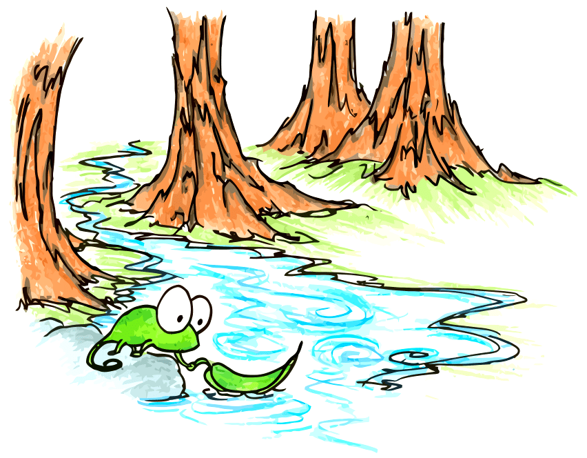 cartoon drawing of a using a leaf as a boat in a creek