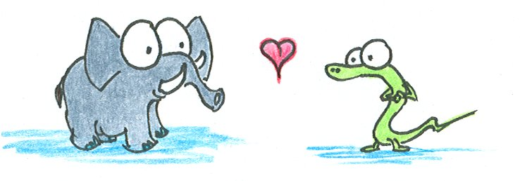 drawing of an elephant and an alligator in love on valentine 39 s day