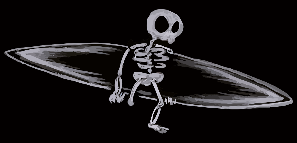 skeleton on a drawn for this amputee surf group from orange