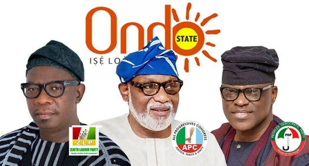 Ondo2020 Akeredolu , Jegede , & Ajayi IN THREE-HORSE RACE .