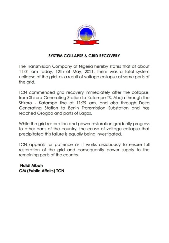 TCN Releases Official Statement With Respect To National Power Grid Collapse.