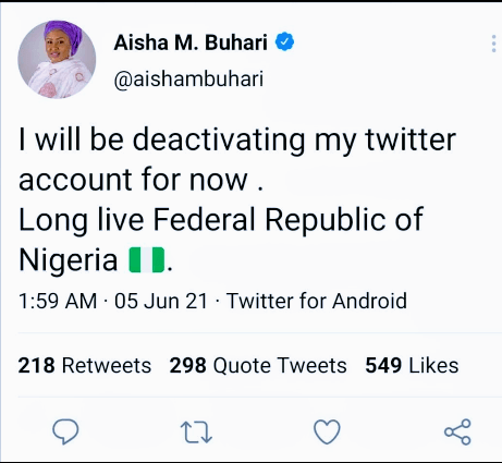 First Lady Aisha Buhari Announces Temporary Deactivation Of Her Twitter Account. #TwitterBan