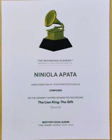 #GRAMMYs : Nigerian Singer Niniola Recieves Certificate of Recognition. (See Photo)/bluebloodz.com