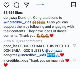 Don Jazzy Appreciates Instagram Sensation @incredible_Kids With 1 million Naira.