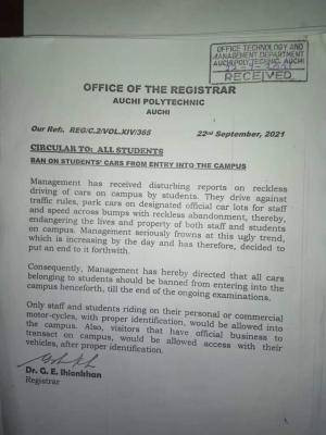 Auchi Poly has evoked a prohibition on cars belonging to students from entering the school campus bluebloodz.com has learned.