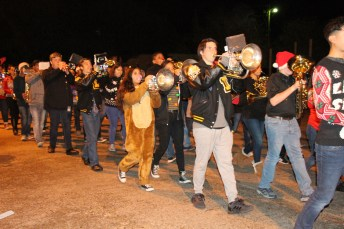 The Liberty High School Marching Band performs holiday tunes for Country Christmas on Nov. 27 in Liberty.