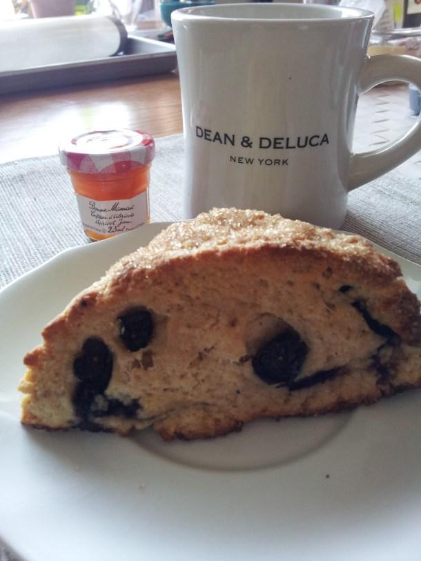jam, scone, coffee. breakfast=done.