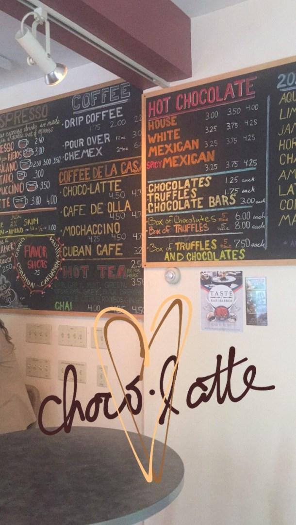 choco-latte menu, bar harbor maine