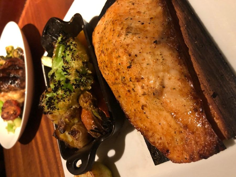 Cedar Plank Salmon with Seasonal Vegetables - Caulini, Potatoes, Carrots, Beets - Harvest Menu - Seasons 52 - Where the BlueBoots Go