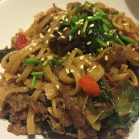 Yum Yum sweet & savory & saucy Asian beef noodles (featuring shaved steak)