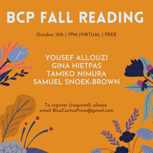 BCP Fall Reading @ VIRTUAL EVENT