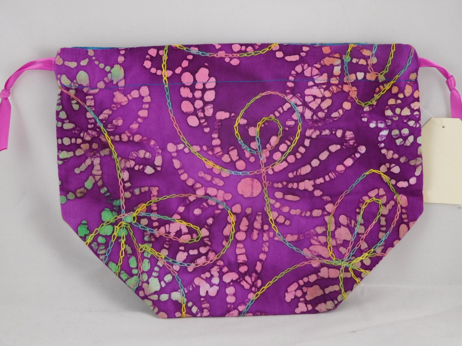 Purple Batik Multi Color Embroidery Drawstring Bag Blue Cherry Faerie Brown