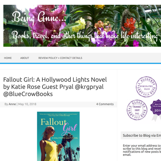 May 2018: Guest post by Pryal about FALLOUT GIRL on Being Anne blog