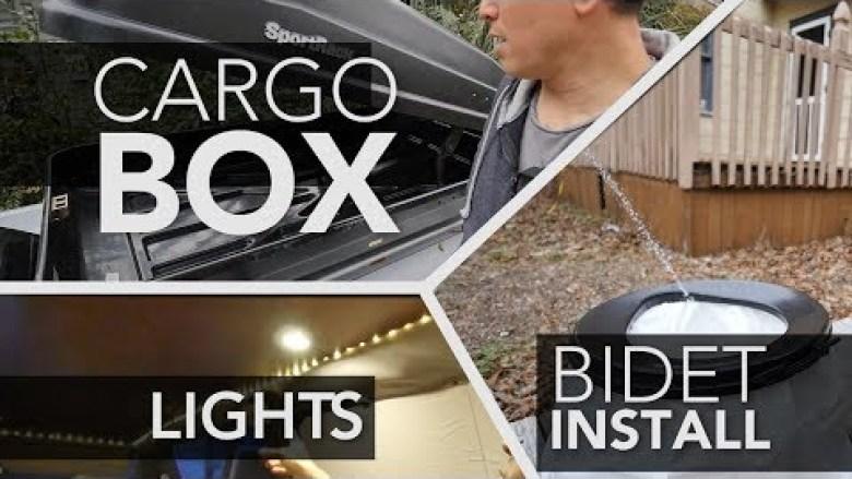 55  Touring Camper Van Build- Bidet Install, Cargo Box