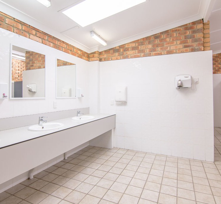 Large, clean shared bathrooms and amenities