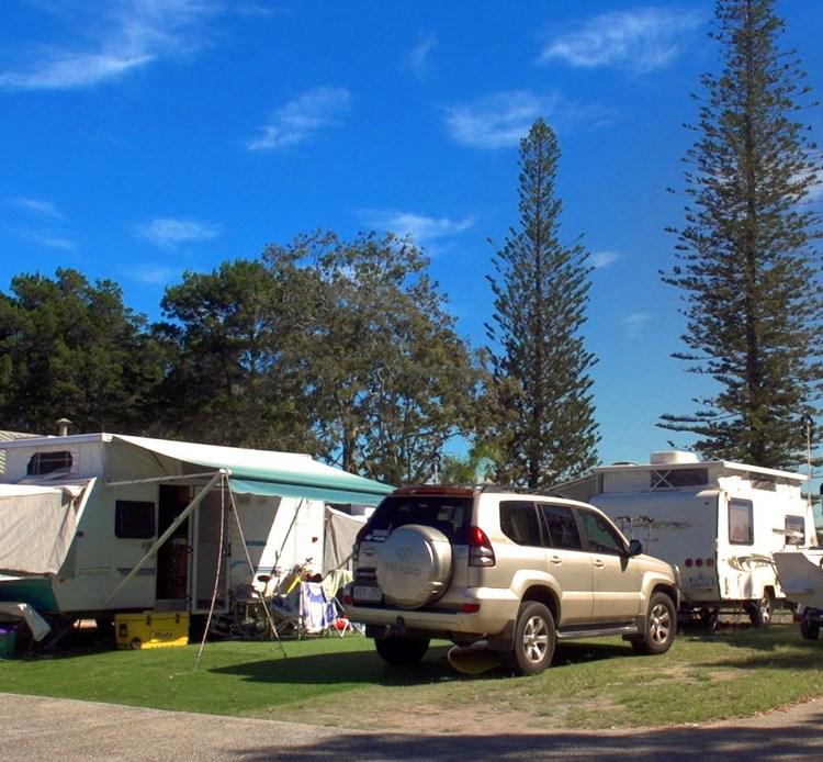 Riverside caravan sites at the Yamba caravan park