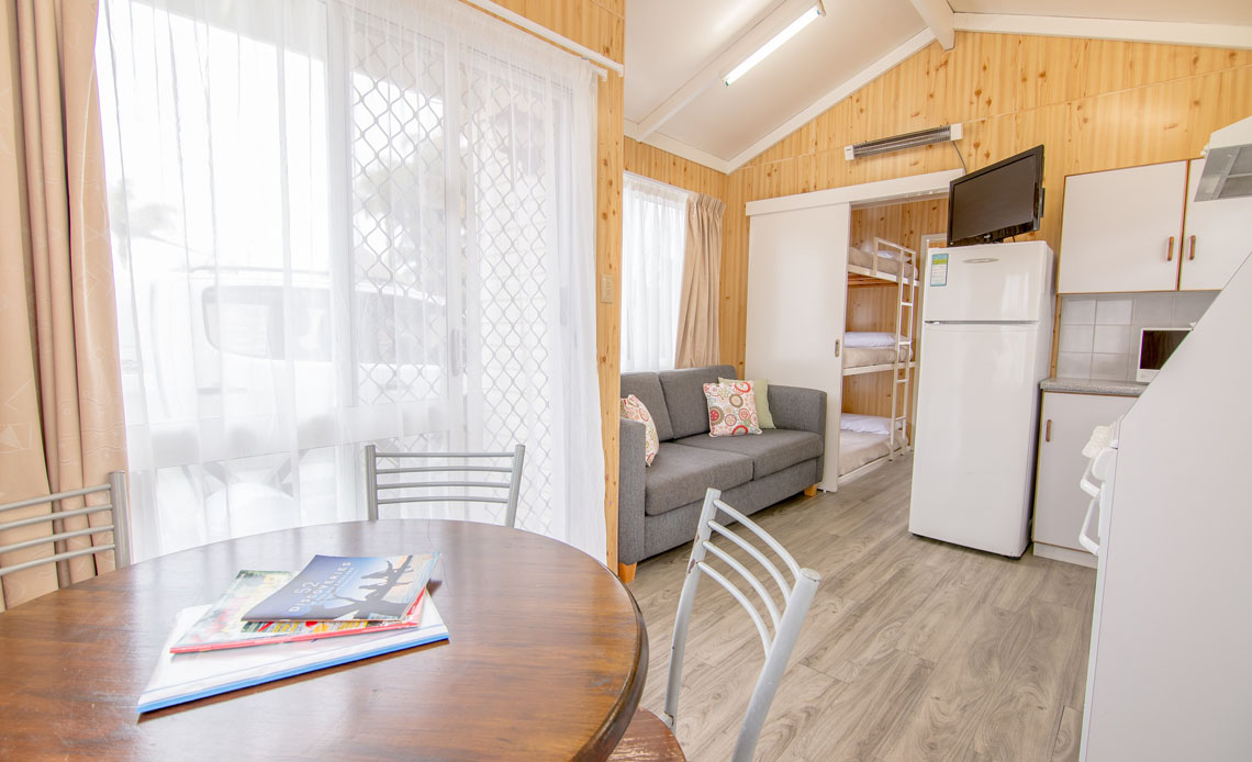 Inside the cabins at the Blue Dolphin caravan park Yamba