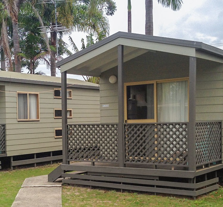 The cabins at the Blue Dolphin caravan park in Yamba