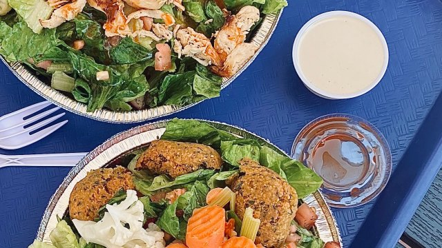 Falafel salad and Whipped Tahini Dressing