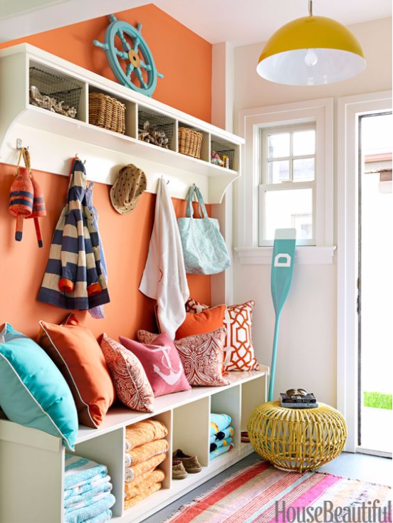Orange Beachy Entryway House Beautiful