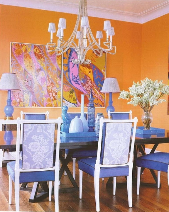 Orange Walls dining room Elle Decor