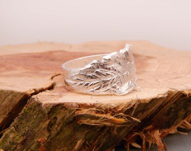Blue Dot Jewelry Custom Silver Leaf Ring on side