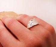 Blue Dot Jewelry Custom Silver Leaf Ring wearing