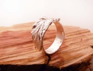 Blue Dot Jewelry Custom Silver Leaf Ring standing front