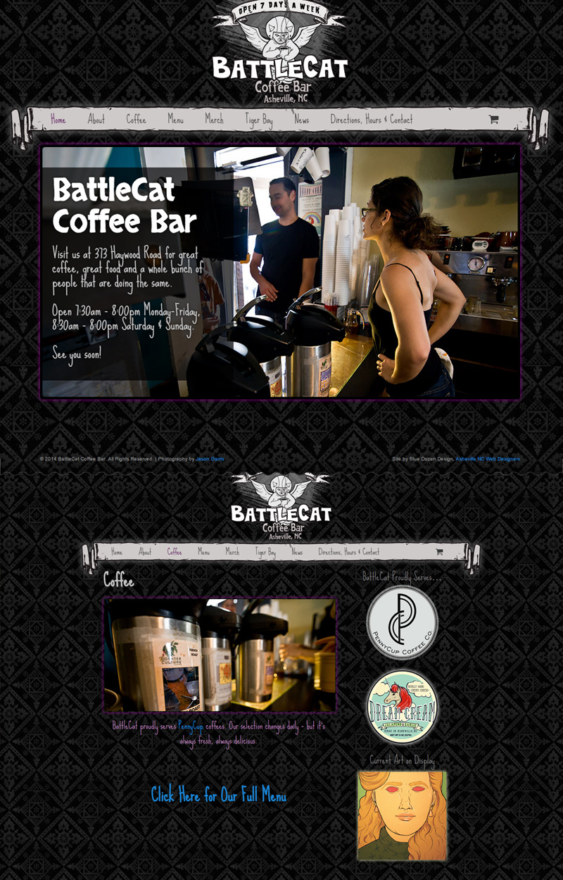 Web Design for BattleCat Coffee