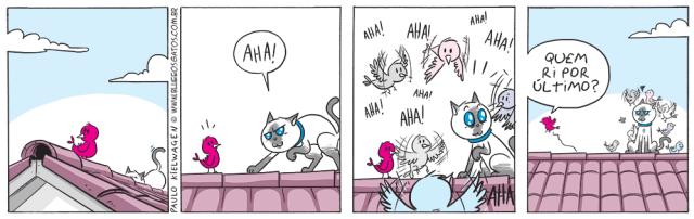 Tira em quadrinhos do Blue. Blue se prepara para pegar o passarinho e é surpreendido por vários passarinhos.