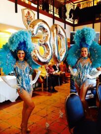 Showgirls in blue for 30th party