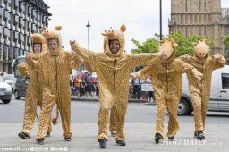Dancers as giraffes for flashmob