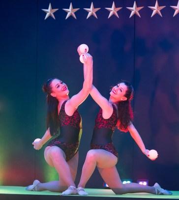 Dancers with LED globe balls