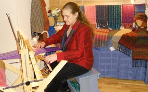 Weaving at a craft fair