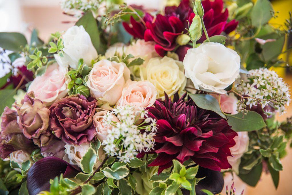 Tia and Michael | Newport Vineyards Wedding | Blush and burgundy wedding flowers