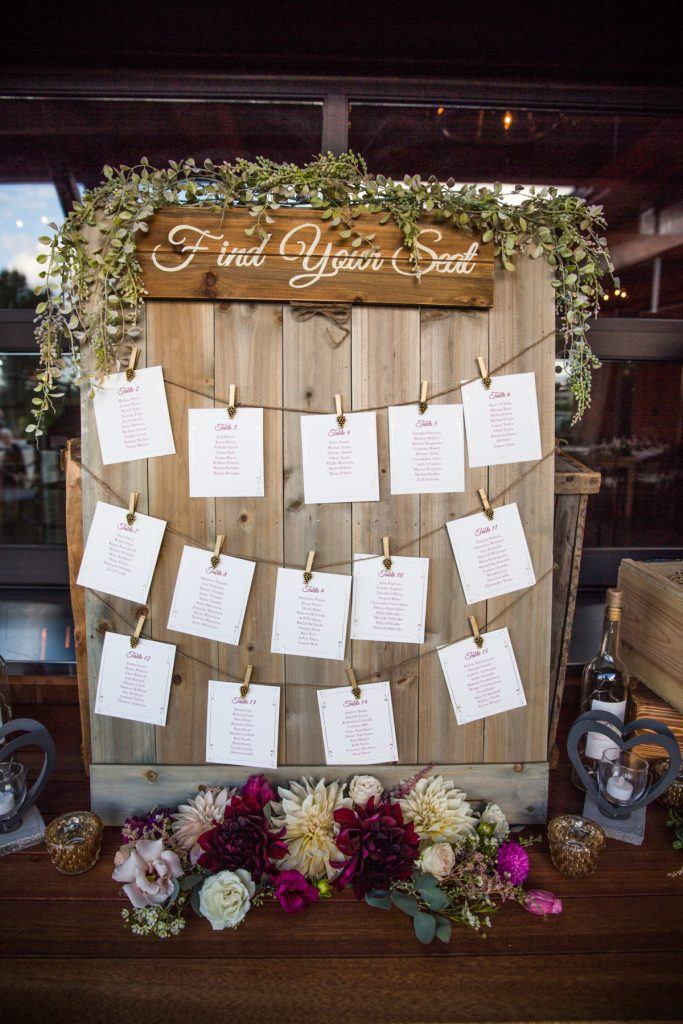 vineyard wedding escort card inspiration