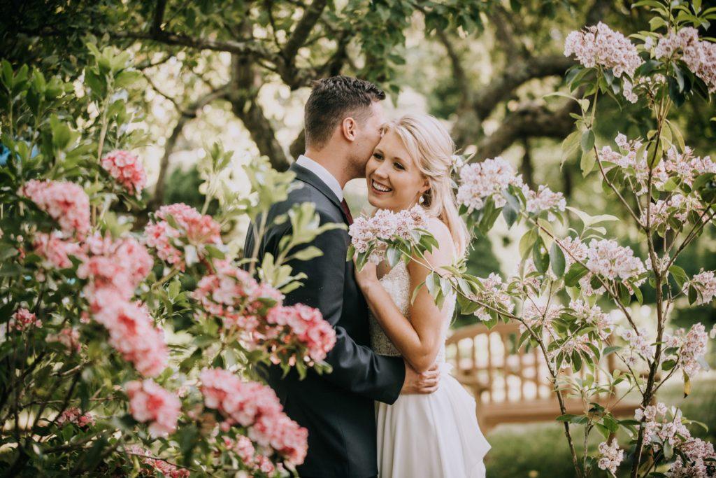Sasha and Michael | bride and groom in backyard garden