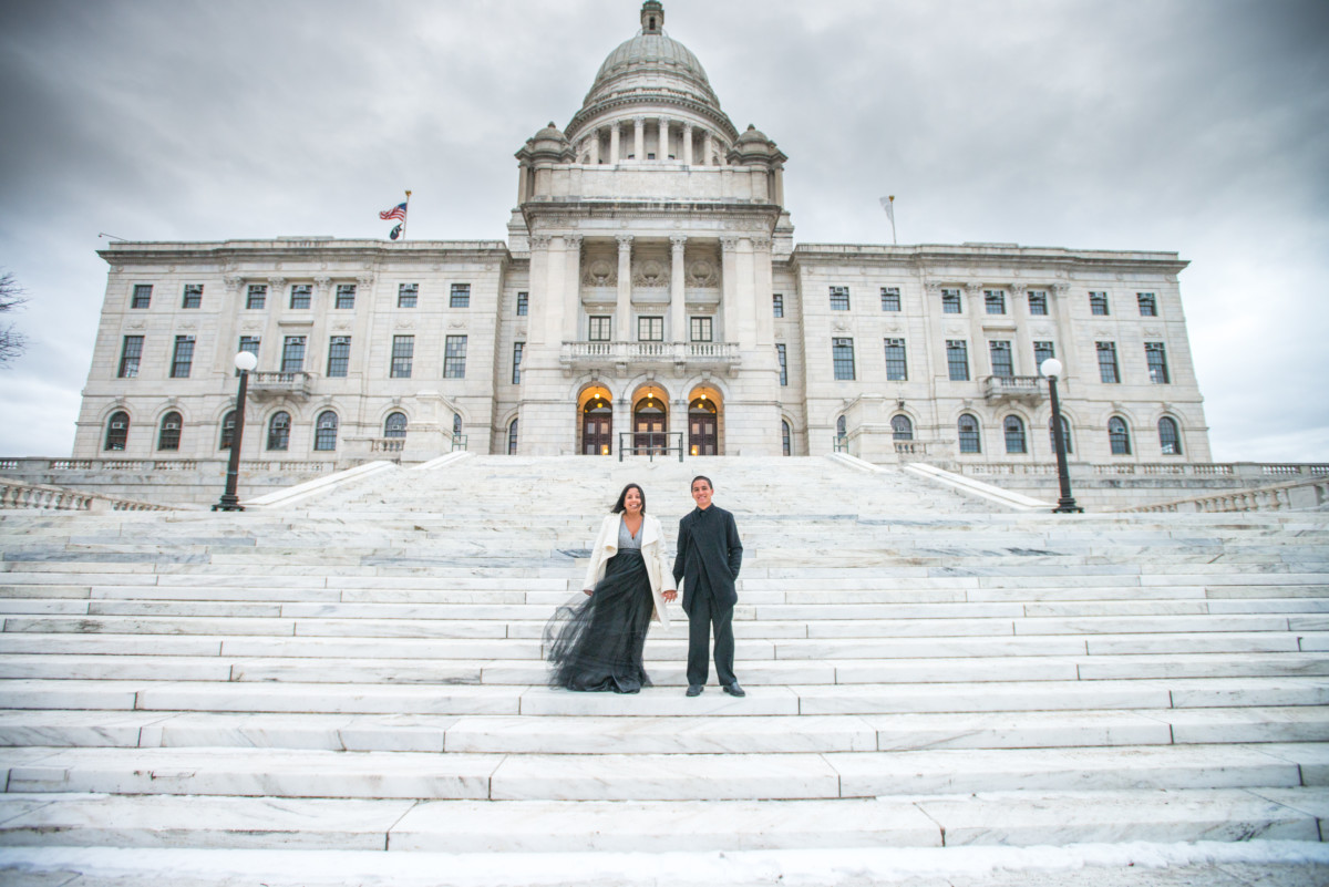 Downtown Providence Engagement - Couple on Statehouse Steps